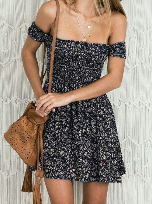 #summer #outfits / pattern print off the shoulder dress