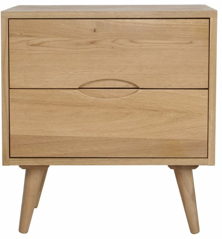 Lilly Two Drawer Bedside Table - Oak