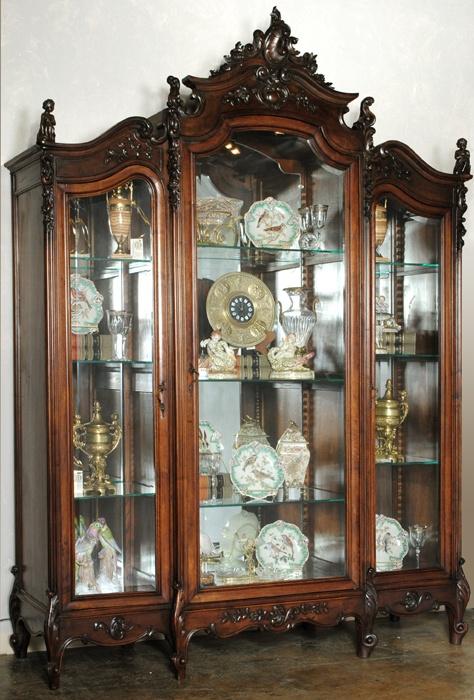 Antique Italian Rococo Walnut Bibliotheque Armoire