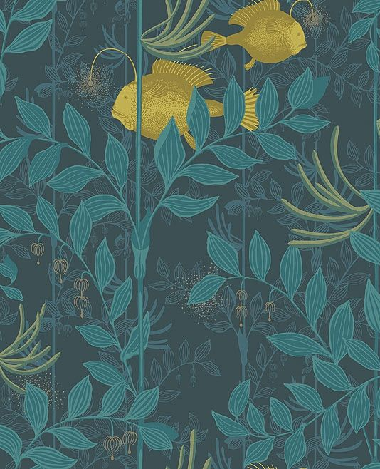 Nautilus Wallpaper This charming design stars a pair of enigmatic anglerfish shimmering in a dreamlike landscape of underwater plants and tendrils, in teal with golden fishes.
