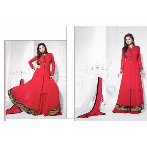 THANKAR ATTRACTIVE LATEST DESIGNER DARK RED ANARKALI SUITS