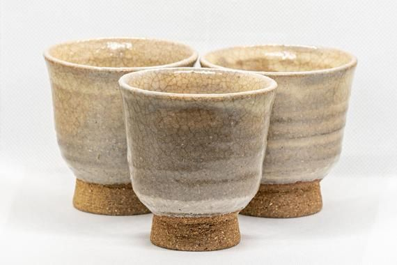 Japanese Teacups Set Of 3 Beige Hagi Yaki Yunomi 130ml Etsy In 2020 Tea Cups Japanese Pottery Hagi Ware