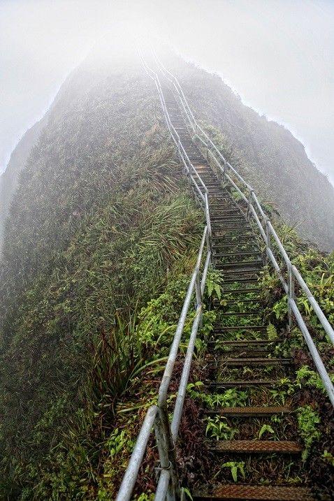 Хайку – лестница в небеса на острове Оаху, Гавайи    Лестница Хайку (Haiku Stairs) или лестница в небеса – живописная пешеходная тропа на острове Оаху на Гавайях, извивающаяся вдоль горной местности на высоту 850 метров. Свое второе название она получила неслучайно – ступени лежат на очень крутом подъеме, буквально уходя в объятья облаков и исчезая из поля зрения. Маршрут берет свое начало на южной стороне гавайской долины Хайку и змеится вверх по склонам до самой вершины горы