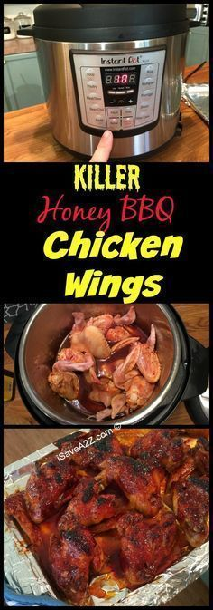 These are some KILLER Honey BBQ Chicken WINGS!!!  Instant Pot Recipes: Honey BBQ Wings made in an Electric Pressure Cooker - http://iSaveA2Z.com