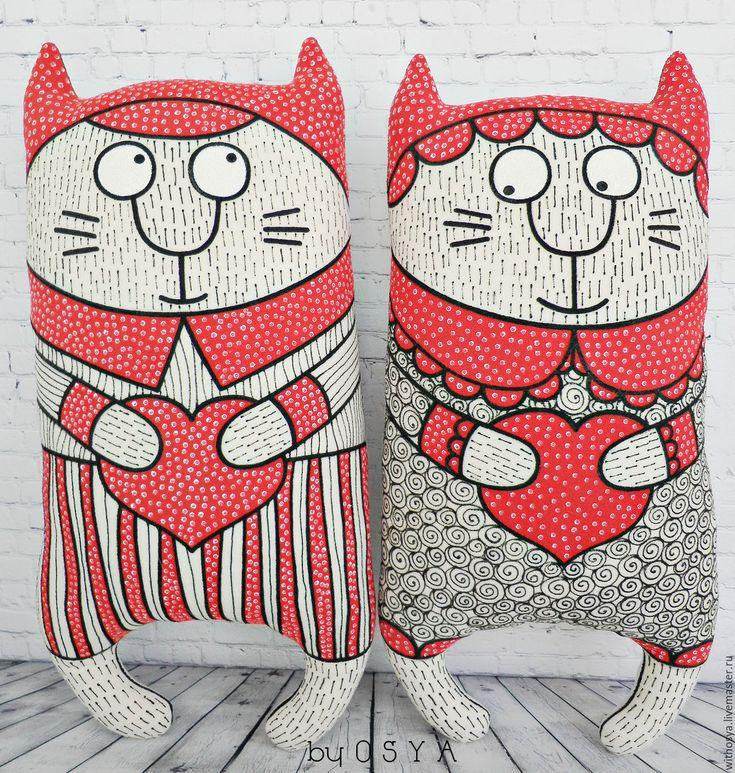 """Купить Декоративные подушки с росписью """"Влюбленные коты"""". - кот, коты, котята, кошка, роспись"""