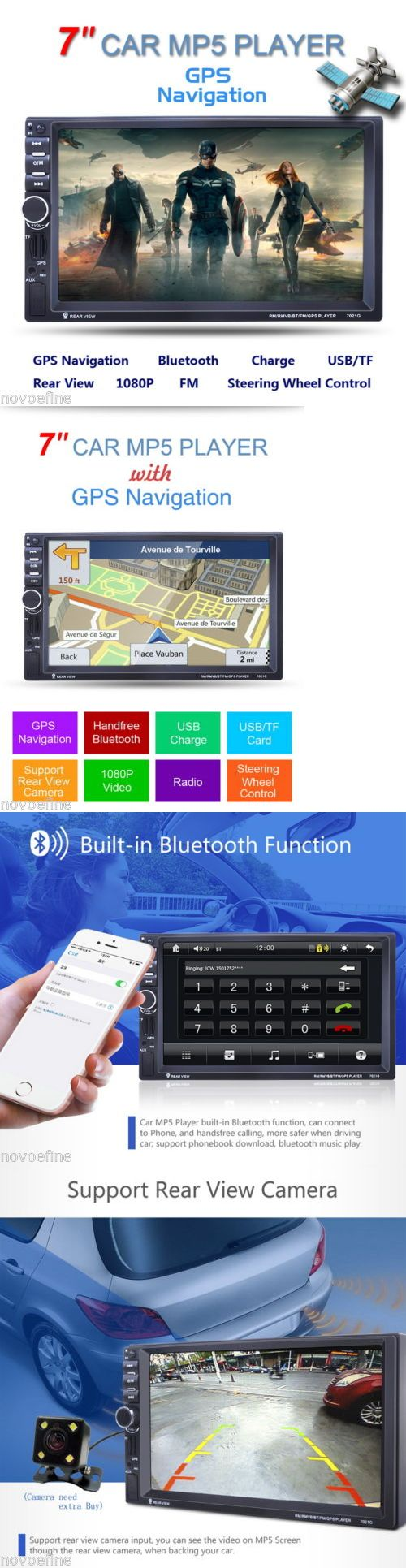 Vehicle Electronics And GPS: 7 Double 2 Din Touch Bluetooth Car Gps Navi Stereo Radio Mp5 Mp3 Player Fm Usb BUY IT NOW ONLY: $86.99