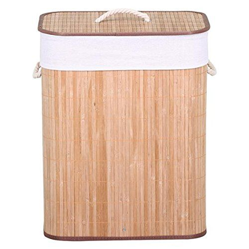 Popamazing Bamboo Foldable Laundry Basket Box Laundry Hamper With Lid and Removable Washable Lining (Natural)