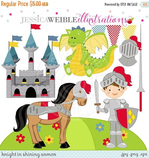 SALE Knight in Shining Armor Cute Digital Clipart - Commercial Use OK - Castle Clipart, Dragon, Knight Clipart