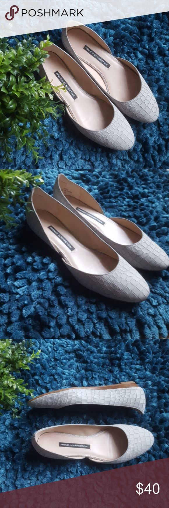 French Connection Asia Leather Flats!!! Beautiful light grey textured leather flats by French Connection. Gently used, but in excellent condition. Well made and very comfortable. Comes from a smoke-free pet-free home. Fast shipping! NO TRADES! French Connection Shoes Flats & Loafers