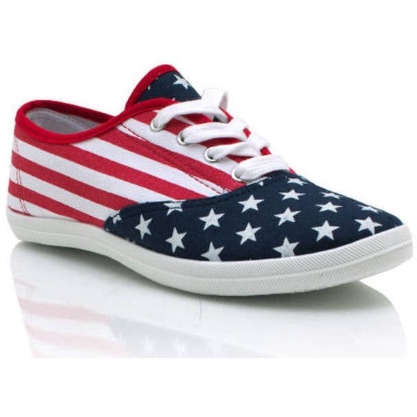 American Flag Canvas Sneakers (20 CAD) ❤ liked on Polyvore featuring shoes, sneakers, plimsoll sneaker, canvas trainers, canvas sneakers, plimsoll shoes and american flag shoes