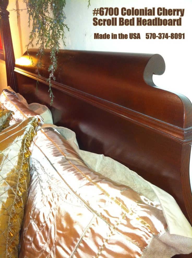 Solid Cherry Scroll Bed Headboard Detail. Colonial Furniture 570 374 8091.  Made