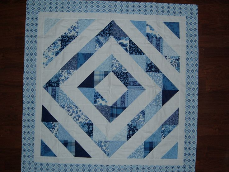 I love blue & white!...another table throw backed with flannel only!