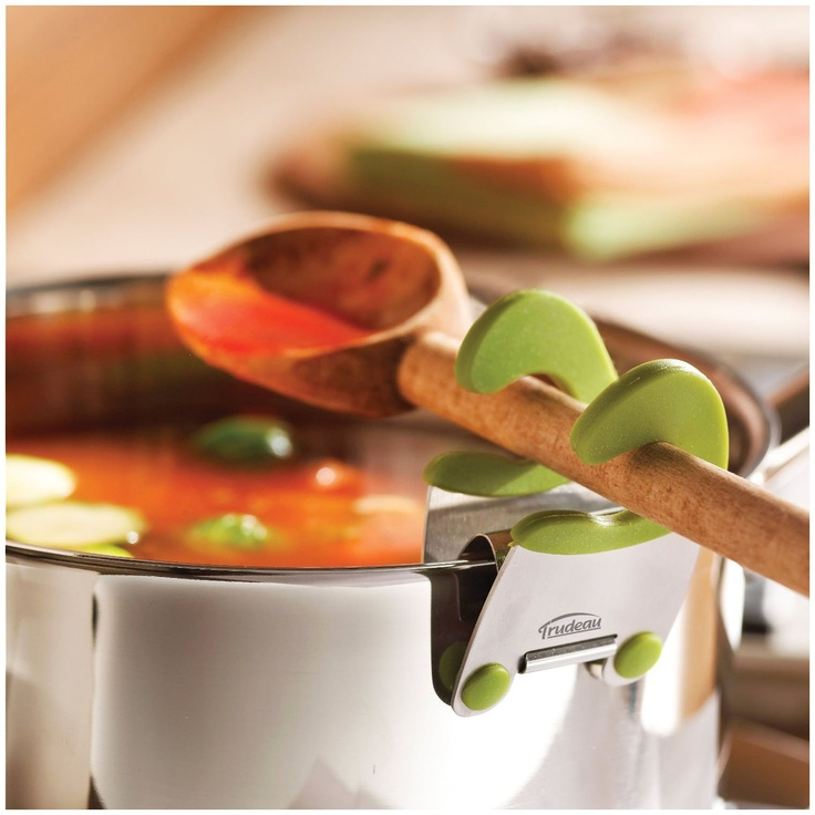 Pot Clip Spoon Rest - casa.com  My hubby hates traditional spoon rests - this may be the cure.