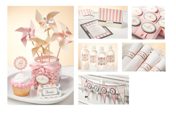 complete baby shower ensemble - invitation, napkin rings, water bottle labels, cupcake flags, pinwheels, banner & treats!