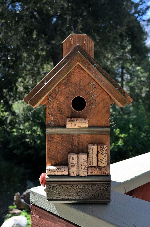 Visit ETSY.com it's a great place to shop for the upcoming Holidays. Start early before its too late. Rustic Birdhouses Reycled Cork Birdhouse by BirdhousesByMichele, $65.00