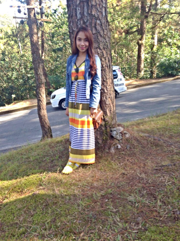 maxi dress and maong jacket ❤️