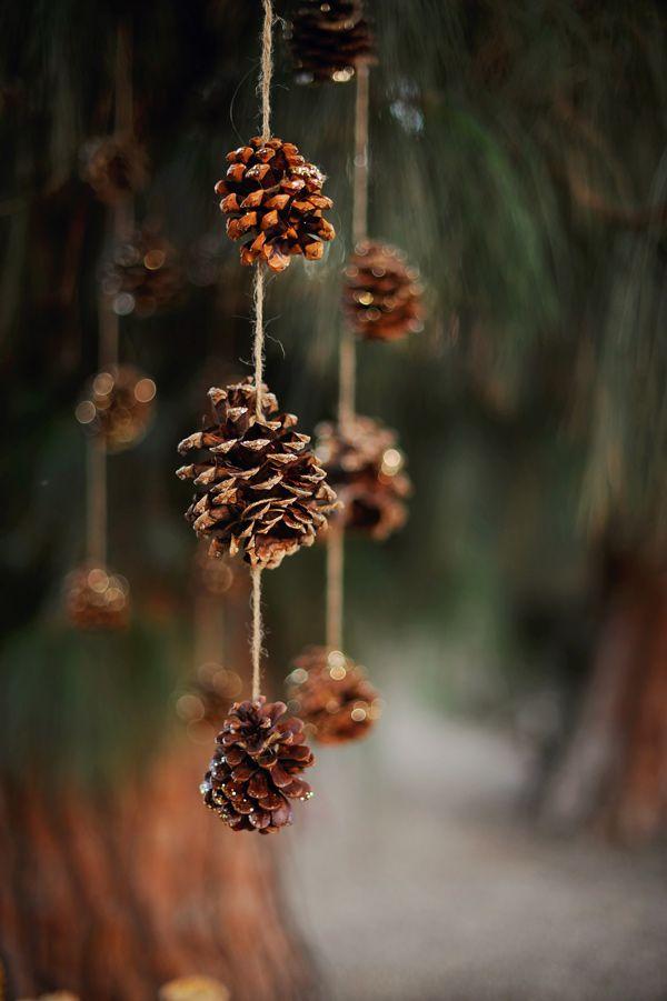 pine cones spritzed with glitter - awesome backdrop! // photo by Arina B Photography // http://ruffledblog.com/festive-christmas-celebration-shoot