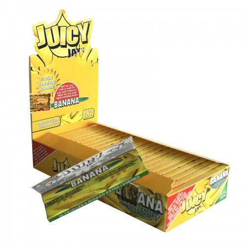 Tα χαρτάκια Juicy Jays banana μεσαίου μεγέθους είναι τα μοναδικά τσιγαρόχαρτα με αληθινή γεύση και άρωμα μπανάνας από το πρώτο μέχρι το τελευταίο φύλλο.Τα προϊόντα Juicy Jays κατασκευάζονται με το περίφημο σύστημα triple-dip για επιπλέον γεύση.