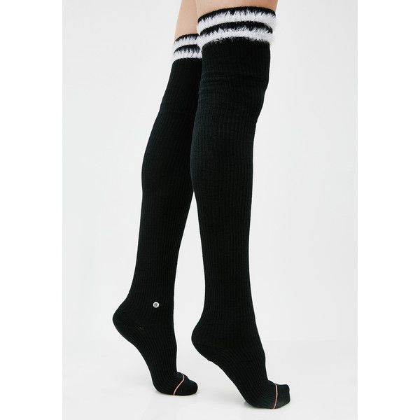 Stance Ink Fur Fatale Socks ($17) ❤ liked on Polyvore featuring intimates, hosiery, socks, black, fuzzy socks, stripe thigh high socks, stance socks, stripe socks and thigh-high socks