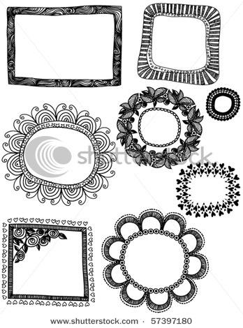 black white doodle frames
