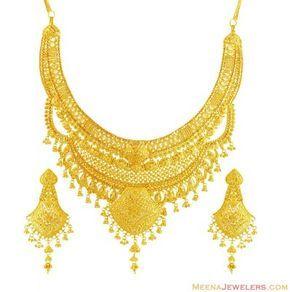 22K Designer Bridal Necklace Set ( Bridal Necklace Sets )