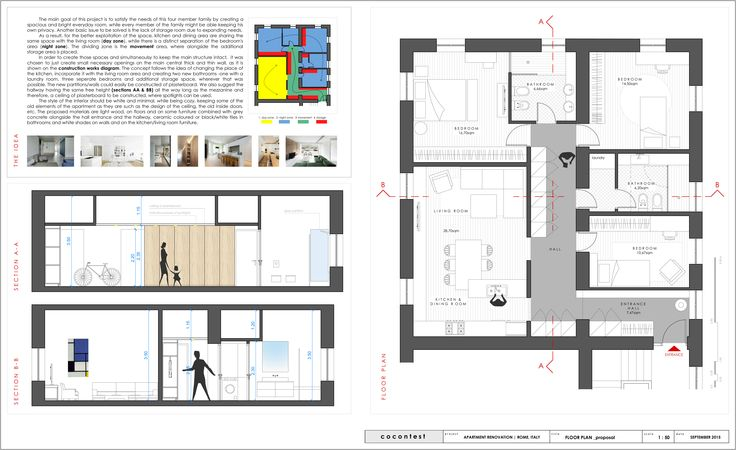 project_Apartment renovation in Rome, Italy | phase_Proposal | title_Floor plan & Sections | architects_JoNat Architects by Joanna Chamilou◦Natasa Markopoulou | year_2015