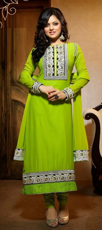 405554: Check out one more neon #anarkali modeled by lovely DRASHTI DHAMI