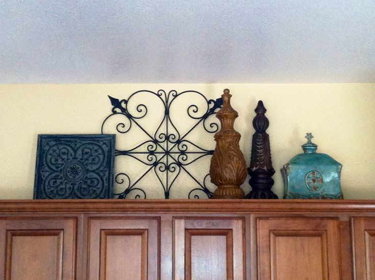 Decorating above kitchen cabinets- All items purchased from Home Goods & Hobby Lobby