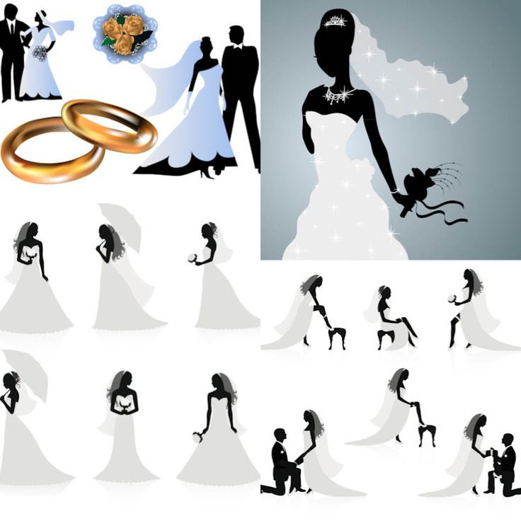 Wedding silhouettes with groom bride and newlyweds