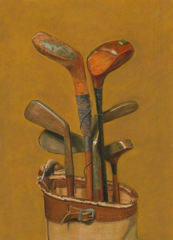 Vintage Golf Clubs fine art glicee reproduction by fernpaintings, $36.00