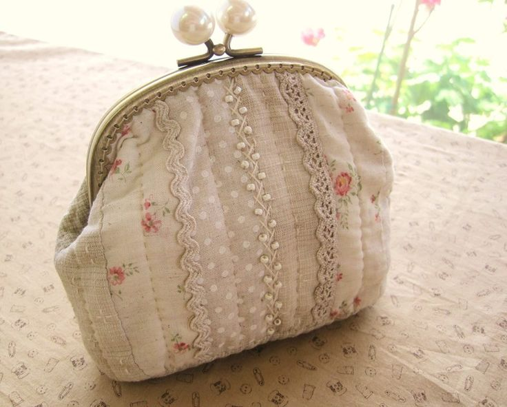 Metal frame purse with lace, ricrac and beaded embroidery