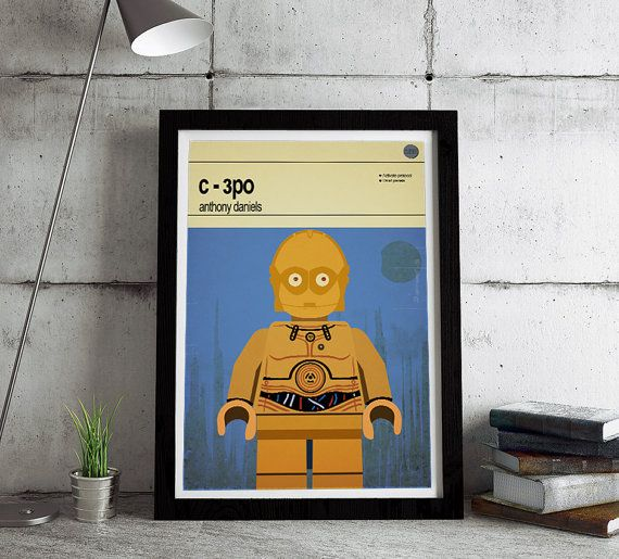 This is a stylish poster print of the Lego Star Wars character C-3PO, fit to grace any man cave or children's bedroom. Hand drawn with a graphics tablet and pen this print is styled with typography and features the actor who voiced Lego Star Wars C-3PO in the Lego game and the Lego Star Wars character abilities.