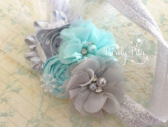 Elsa FROZEN Inspired Headband, Chiffon Headband. Baby Headband, Silver Grey Aqua Chiffon Headband. Holiday Headband.Wintery Feather Headband on Etsy, $13.95