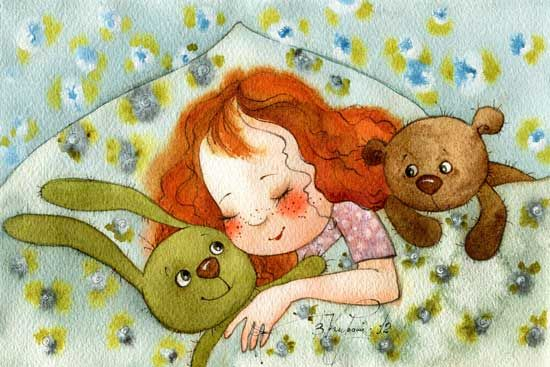 Victoria Kirdiy - Little bear is jealous of girl's attention to her green bunny.