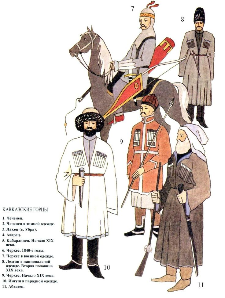 Caucasian mountaineers: 7: Circassian in military dress; 8: Lezghin in national dress, 2nd half XIX c.; 9: Circassian, early XIX c.; 10: Ingush in parade dress; 11: Abkhaz