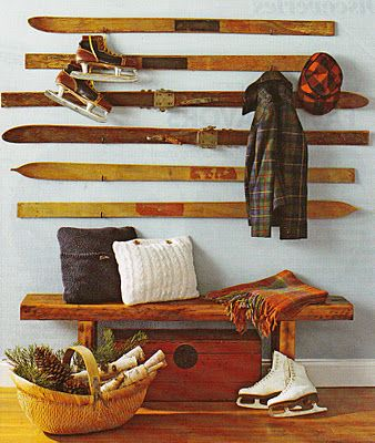 decorative skies entry way coat rack...or hockey sticks!