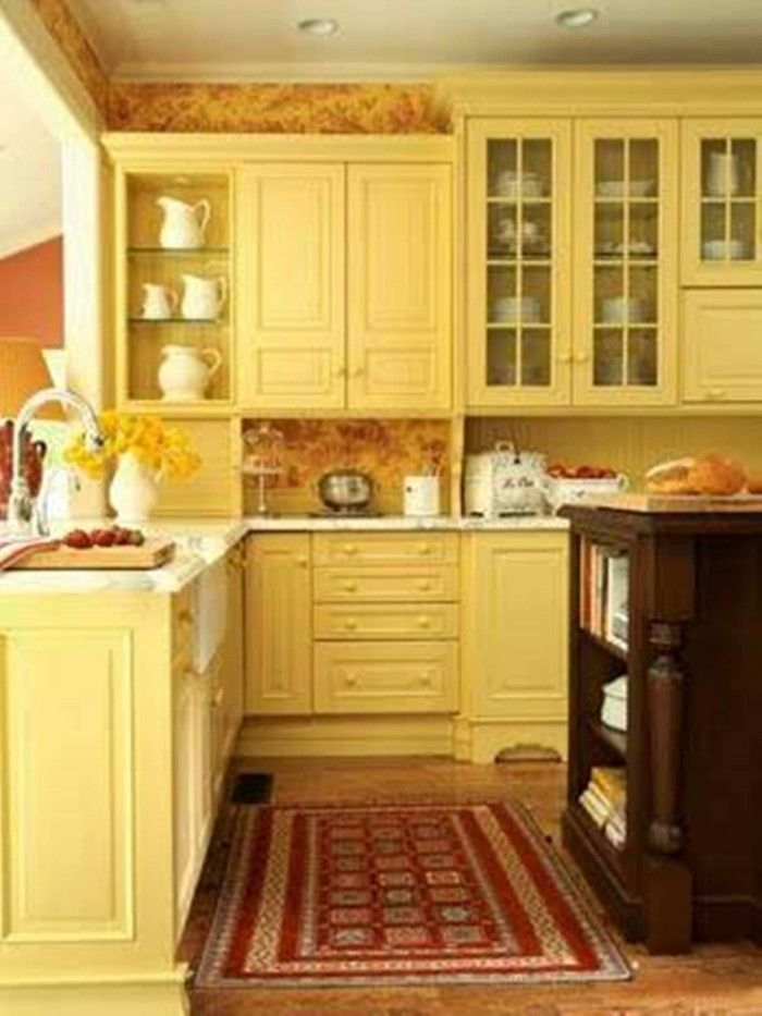 Yellow Kitchen Cabinets I Would Paint The Walls White And Use A