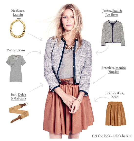 Belt - Dolce & Gabbbana Necklace - Lanvin Skirt - Acne Jacket - Paul & Joe Lanvin Swarovski crystal and cord chain necklace Paul & Joe Sister Perceval bouclé-tweed jacket Dolce & Gabbana Woven raffia elasticated waist belt Acne Romantic Lea Leather SkirtGwyneth Goop, Full Skirts, Gwyneth Paltrow, Leather Skirts, Outfit Inspiration, Paltrow Style, Fashion Inspiration, Spring Outfit, Oscars Dresses