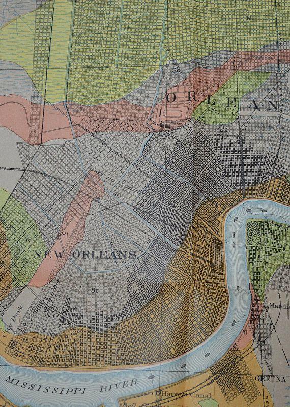 1903 Original Antique New Orleans Map Vintage New Orleans