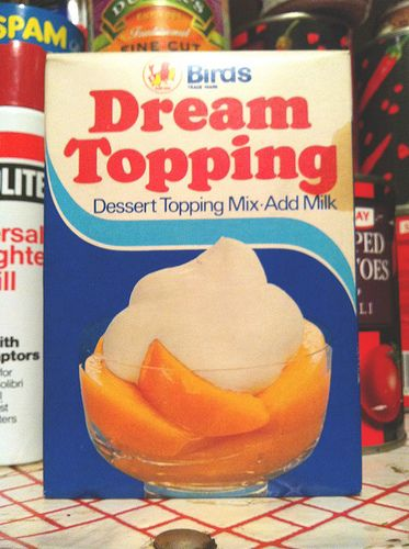 We used to have this occasionally - it was easier than whipping cream. I didn't like it much, but it was nicer than actual cream - it was sweeter :)