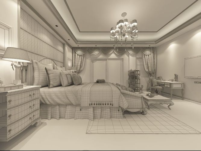 Stylish And Welcoming Bedroom 3d Model Max 6