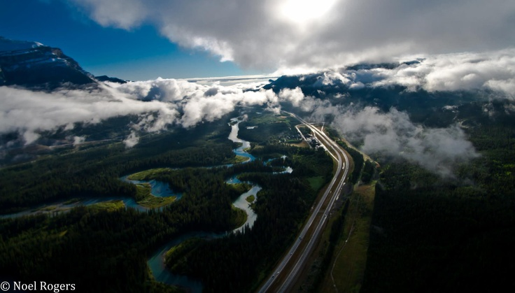 Morning helicopter flight over Bow Valley, Canmore, Alberta, Canada