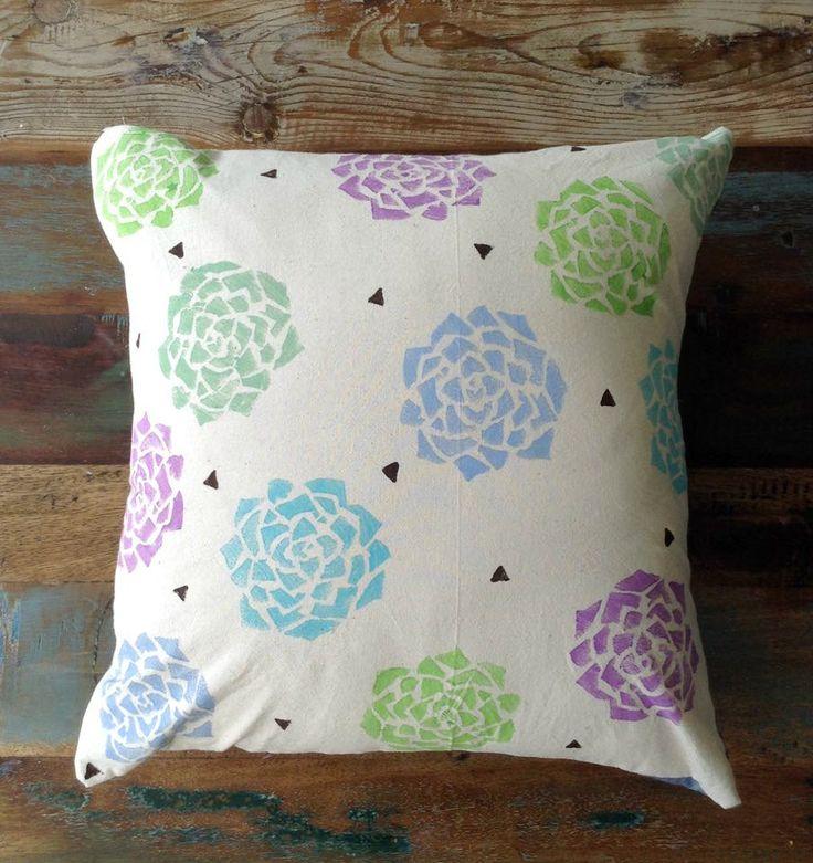 Cushion - Block Printed Cushion - Pillow Cover - Beige Cotton Cushion -  Denim - Poly Insert - Succulents Cushion 40cm x 40cm by UniqueLulu on Etsy