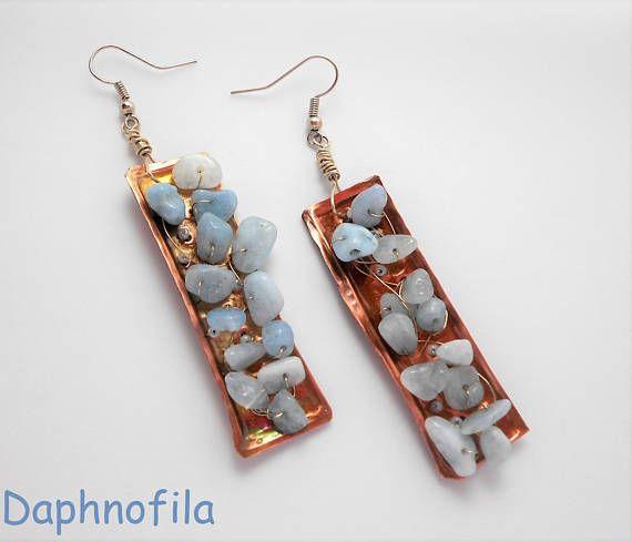 Light blue earrings Copper earrings Summer earrings