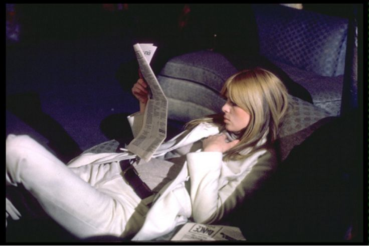 Photo of Nico reclining in Andy Warhol's mid-town Factory in 1966 by Nat Finkelstein via Rock Pop Gallery.