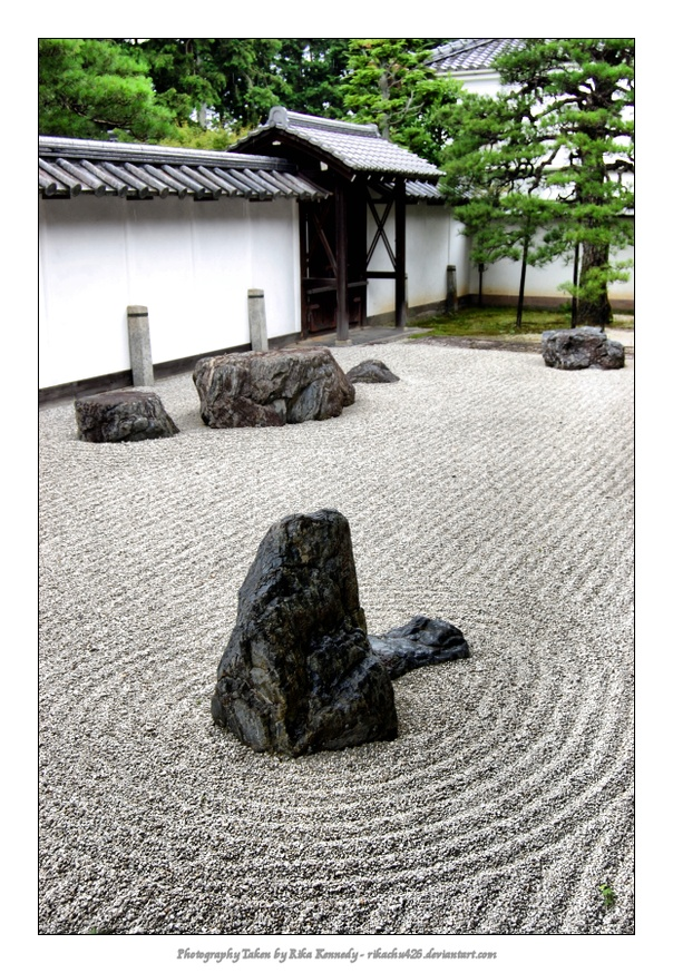 Rock meditation garden - from any point in the garden, you cannot see all 8 rocks, meaning mans struggle to always achieve perfection.