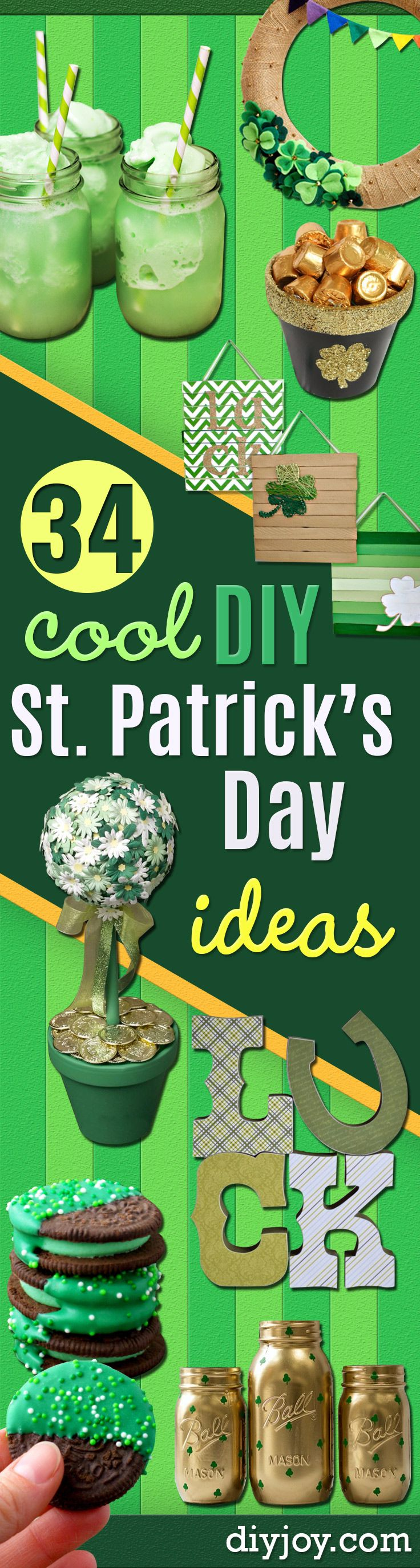 DIY St Patricks Day Ideas - Food and Best Recipes, Decorations and Home Decor, Party Ideas - Cupcakes, Drinks, Festive St Patrick Day Parties With these Easy, Quick and Cool Crafts and DIY Projects http://diyjoy.com/st-patricks-day-ideas