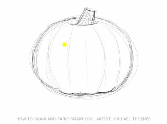 How to Draw Halloween Pumpkins Step 2