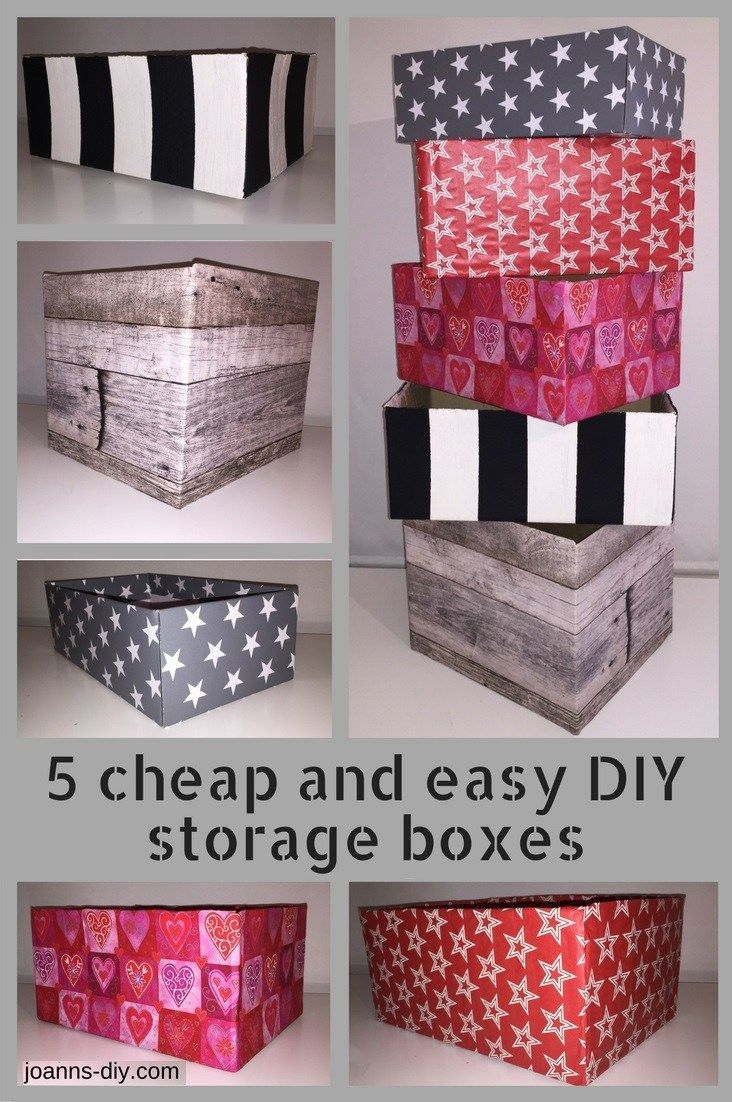 5 cheap and easy DIY storage boxes made from cardboard boxes, to organize and decorate your home. C'mon and check them out!   #joannsdiy #diy #storage #cardboardbox #organizing