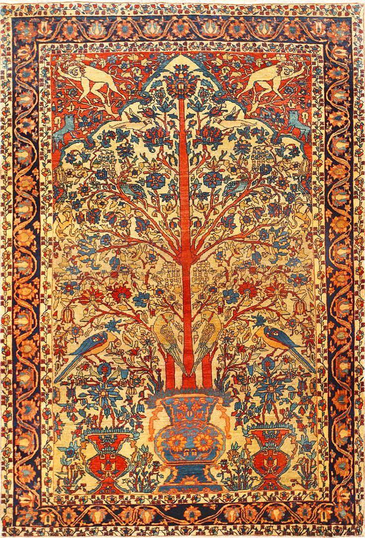 Antique Persian Fine Sarouk Farahan Tree of Life Rug 48624